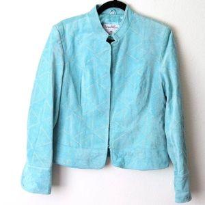 Blue Suede Leather Embroidered Jacket Pamela McCoy